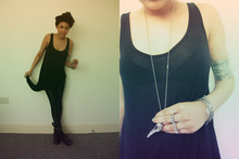 Helina Varma - Topshop Top, American Apparel Leggins, Topshop Boots, Aldo Knuckle Duster, Fashionology Necklace - BLACK OUT