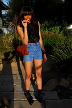 Autumn Polk - Express Lace Tank, Out Of The Closet High Waisted Shorts, Gucci Boots, Buffalo Exchange Vintage Purse - Set the Fire to the Third Bar