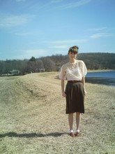 Rosie Rosemud - Grandmother's Blouse, Thrifted Skirt, Thrifted Braided Belt, Forever 21 Pointelle Socks, Thrifted Oxfords - To me, you are perfect