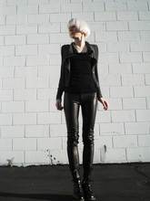 Biz C - Zara Leather Pants, Dr. Martens Darcie Boots, Wilfred Ribbed Tank, Bordeaux Cardi - Temps