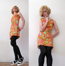 Rita Trixtar - Vintage Psychedelic Dress, Don't Remember White Platforms - I'll paint you mornings of gold