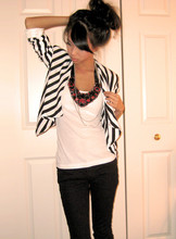 Winnie L - H&M Stripe Blazer, Bib Necklace - Wreck of the day