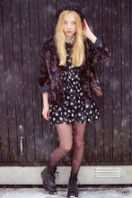 Lovisa R - Secondhand Jacket, Secondhand Dress, H&M Hat, Dr. Martens Dr - Happiness only real when shared.