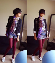 Tong C. - H&M Floral Scarf, H&M Tiny Polka Dot Tights, Err Or Graphic T's By Error, Converse All*Star Slim, N/A Blazers, Calvin Klein Ck Shades - Today I'm too lazy to dress up..