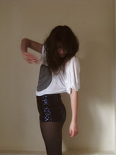 Hannah Lamb - Gas'd Over Sized T With Big Grey Circle., Navy Sequin Hotpants/Shorts - Oh, music.