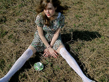 Kara Keller - Urban Outfiiters Jungle Dress, Urban Outfitters Over The Knee Socks - A spot of tea?