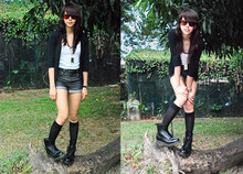 Patricia Prieto - American Apparel Sunnies, Randomly Found In Hong Kong Black Cardigan, Topshop White Tank Top, Glitterati Denim Shorts, Dr. Martens My Sisters - Nymphette