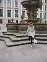 Esikazemese _ - Zara Lace Covered Purse, Adidas Fav Flower Print Sneakers, H&M Striped Shirt And Golden Leaves Belt From, Zara Beige Cardi, Calzedonia Black Leggings - Hello Prague! <3