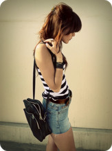 Lua P - Lee Vintage Shorts, Striped Tank, Vintage Bag, I Dont Know Where I Got It - Honey, just allow me one more chance