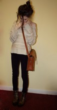 Rose A - Primark Knit, Love New Satchel That I To Death, Topshop Trousers, River Island Boots - Gluey porch treatments