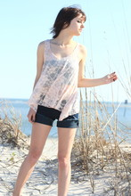 Mea. Grace - Forever 21 Laced Tank, Levi's® Jean Shorts - Lace and Shimmer
