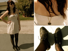 Meghan Johnson - Forever 21 White Dress, Forever 21 Sparrow Necklace, Goodwill Deer Necklace, Goodwill Black Oxfords - Come Join The Youth and Beauty Brigade