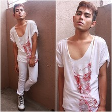 Karl Philip Leuterio - Diy Ripped Tee, Solo White Jeans, Dr. Martens Combat Boots - Laughing with a mouth of blood