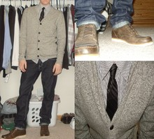 Ross D - Obey Cardigan, Fossil Boots, Repuation Shirt, Levi's® 511jeans, Random Brand Tie - Spring is here!