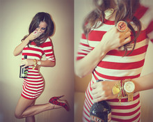 Perventina Ols - H&M Dress, Michael Kors Watch, Asos Ring, Necklace - Red, gold and drink