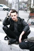Dustin H. - H&M Leggins, C&A Leather Jacket, H&M Acid Washed Shirt, Dr. Martens Doc - Http://shiggersonstreet.blogspot.com/