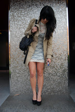 Krystal Bick - Zara Trench Coat, American Apparel Lace Body Con Dress, Steve Madden Studded Platforms - Lace/trench