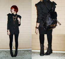 LINDA HAO LIYUAN - Self Dyed, Moschino Vintage Backpack, The Girl Next Door , Jb Thrifted Vintage Boots, Modparade Black Shirt With Structured Shoulders, Handmade Gold Chain Necklaces With Pearl Droplets, Marc By Jacobs Mbmj Locket Watch, Zara Suede Patchwork Legging - RED & BLACK