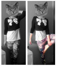 Madame Svenja T. - H&M Cardigan With Bow, H&M Floral Leggings - Cat in the hat
