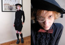 Rita Trixtar - Demonia Batwing Shoes, Bow Beret, Thrifted Iridiscent Bow Tie, Thrifted Ruffle Shirt, Handmade (But Not By Me) Prince Pants - Not your average prince charming