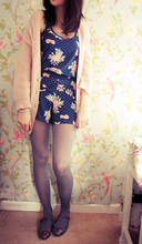 Amy Lilley - H&M Pink Cardigan, Topshop Floral Playsuit, H&M Grey Tights, Topshop Floral Ballet Pumps - Floral