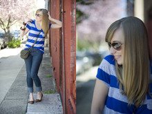 Kimberly Pesch - Forever 21 Stripped Shirt, Linea Pelle Crossover Clutch, Steve Madden Flats, Anthropologie Aviators - Striped Blonde