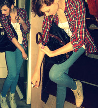 Alexandra Grace - Topshop Shirt, Jeggings, Asos Black Leather Bag - Booooots!