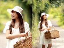 Claradevi Handriatmadja - Vintage Straw Hat, Handmade, Self Design White Summer Dress - On That Lonely Trails