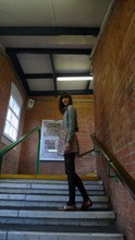 S Green - H&M Denim Jacket, Primark Flower Dress, Primark Patterned Tights, Topshop Leather Shoes - Dismal, hey worcester
