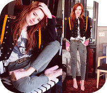 Jane Aldridge - Vintage Band Jacket, Quail Tee, J Brand Cargo Skinnies, Givenchy Pink Pumps - JUNIOR LEAGUE