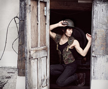 Alex Evans - Army Supply Store Hat, Army Supply Store Vest, H&M Tank Top, Levi's® Jeans, Steve Madden Boots - DULCE ET DECORUM EST