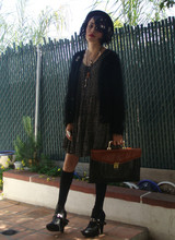 Pixie Love - Mk Wannabeez, Vintage Eel Briefcase, Retro 90'z Floral Dress, Thrift Black Punk Fuzzy Sweater, 4ever 21 Armor Ring, Yo Mamaz House Red Lipstick... - MUST BE THE SEASON OF THE WITCH .
