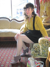 Lisa Z - Vintage Mustard Sweater., Uniqlo Black Velvet Jumper., Christian Dior Vintage Polka Dot Tights., Kenneth Cole Egglplant Suede Slouch Booties., Le Sport Sac Fafi Tote. - Coffee house couches.