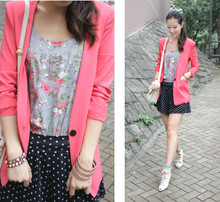 Mayo Wo - Seven Connection Shocking Pink Blazer, Floral Jumpsuit Worn As Blouse, Polka Dots Skort - Floral patterns + polka dots <3<3<3