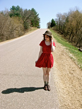 Kara Keller - H&M Straw Hat, Urban Outfitters Little Red Dress - The straight and narrow.