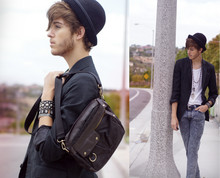 Adam Gallagher - Bowler Hat, H&M Small Satchel, Heritage 1981 Pinstripe Blazer, Acid Reign Wash Skinny's - Wait it out
