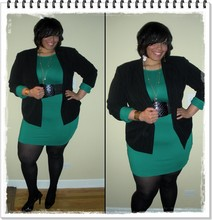 Nichole Smith - Thrifted Pinstripe Blazer, Dorothy Perkins Green Power Sleeve Dress - Power Up!