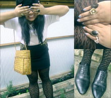 Natasha- Bianca - Rubi Black Leopard Print Tights, Markets Black Oxford Flats, Dangerfield & Diva Assorted Rings, Over Sized White Tee, Bardot Gold Beaded Black Skirt, Mum's Vintage Woven Bamboo Box Bag - Smile like you mean it.