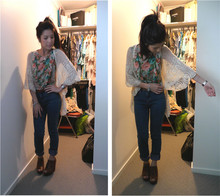 MARIANNN L - Topshop Floral Cropped Top, Zara Lace Wedges, Sportsgirl Cardi, Golfpunk High Waisted Skinny Leg Jeans - It must have been the way you kissed me