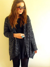 Lily Melrose - New Look Thick Mixed Knit Cardigan, H&M Turqouise Oval Ring, New Look Lacey Black Dress, H&M Round Sunglasses - To the power of 5