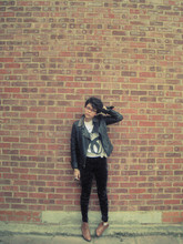 Helina Varma - Topshop Jacket, Kooki Two Bit T Shirt, H&M Velvet Leggings, Office Brogues - He's funny that way