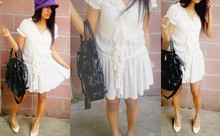 Jacqueline Leonardo - Forever 21 Black Leather Bag, Purple Felt Buckle Hat, Vintage Store Off White Ruffle Dress - Me, Myself and I