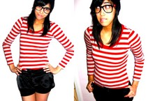 Dani Barretto - Forever 21 Red And Gray Stripped Long Sleeves, People Are Black Shorts - Love isn't simple like 1 + 1 = 2
