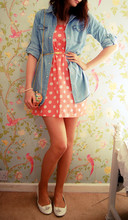 Amy Lilley - Polkadot Dress, Denim Shirt, Urban Outfitters Floral Heart Bag, Urban Outfitters Gold Belt - Summer lovin