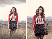Genie Miller - Young Designer Skirt, Cardigan, Braces - Hi this is me on a hill