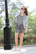 Katie M - American Rag Shorts, Urban Outfitters Shirt, Urban Outfitters Oxfords - Flower Power