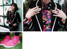LINDA HAO LIYUAN - Lah Land, Kl Vintage Print Sheer Blouse, Shanghai Chuxxx Jacket, Macau Suede Ankle Oxford Shoes, Forever 21 Rings - DON'T YOU KNOW I LOVE DOTS & PRINTS