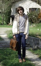 Alexis D.C - Vintage Shoes, Vintage Cardigan, Royal Navy Sweater, April 77 Slim, Vintage Bag - It's always more comfortable with daddy's cardigan
