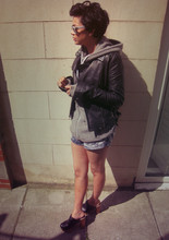 Helina Varma - Topshop Jacket, American Apparel Hoodie, American Apparel Shorts, Jeffrey Campbell Clogs, Ray Ban Sunglasses - CHARLIE