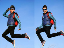 Jonathan Contreras - H&M Strpes Shirt, Disney Vests, H&M Black Jeans, Comverse Shoes, Puma Backpack, Urban Outfitters Sunglasses - JUMP! JUMP!